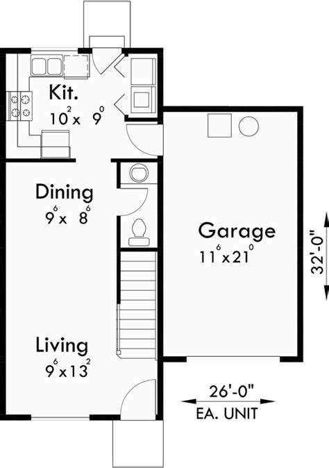 duplex floor plans with double garage duplex house plans for small and narrow lots 3 berooms 2 5