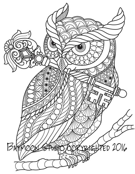 owl mandala coloring pages for adults buho con p 225 clave para colorear para imprimir por