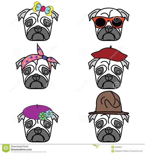 different types of pugs pugs set of icon stock vector image 52099810