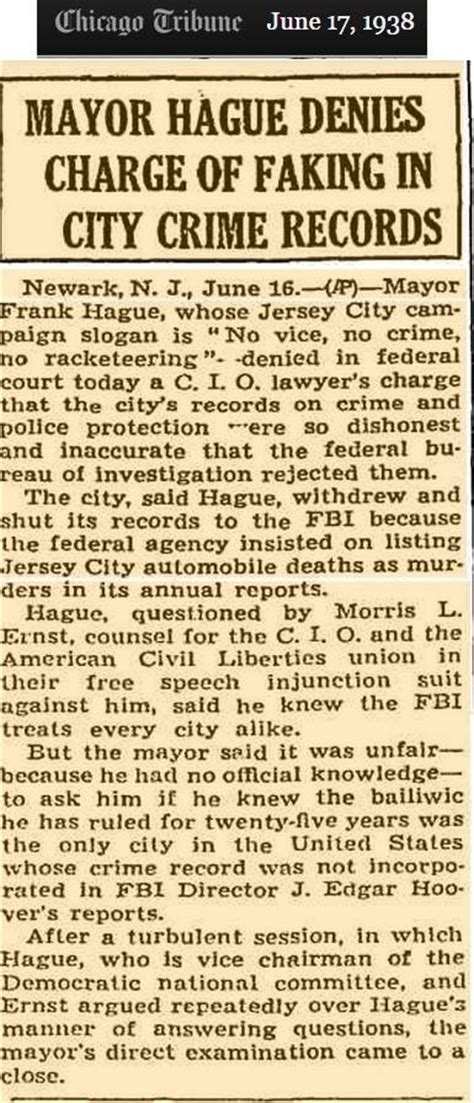Hudson County Records Mayor Hague Denies Charge Of Faking In City Crime Records Hudson County Facts