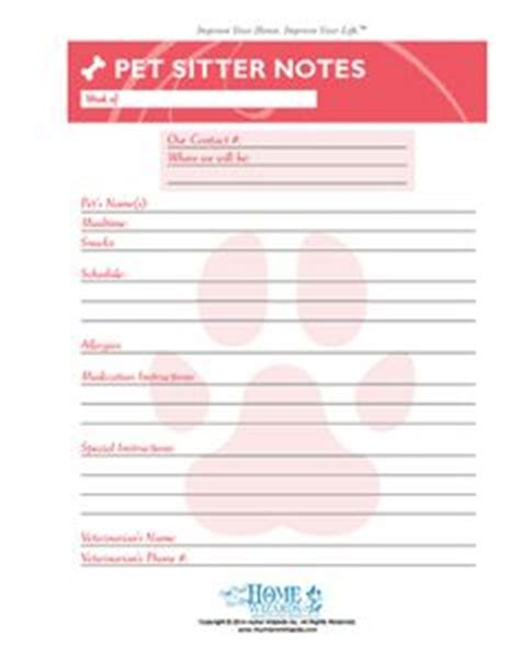 1000 Images About Dog Stuff On Pinterest Pet Care Pets And Printables Pet Sitter List Template