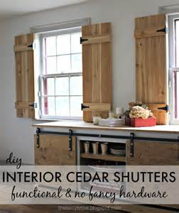 Interior cedar shutters using inexpensive and readily available