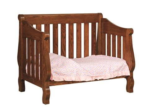 Oak Sleigh Crib by Amish Furniture Crafted Solid Wood Baby Furniture