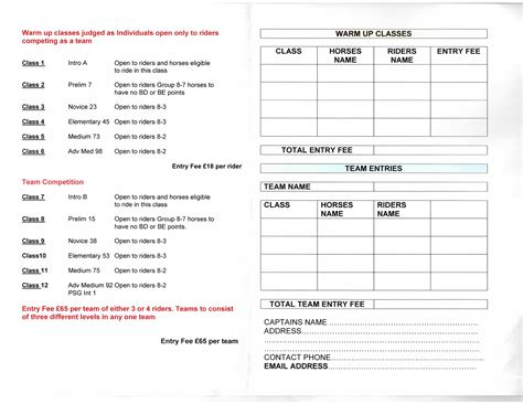 show entry form template oldencraig equestrian centre dressage surrey livery