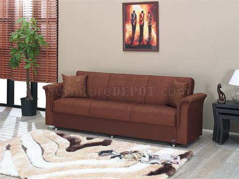 Brown Fabric Modern Sofa Bed Convertible W Storage Space Sofa Beds With Storage Space