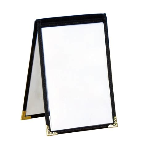 table tent menu holder black vinyl leatherette