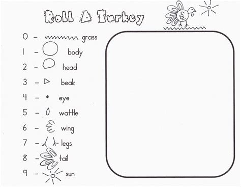 printable roll a turkey roll a turkey printable education pinterest turkey