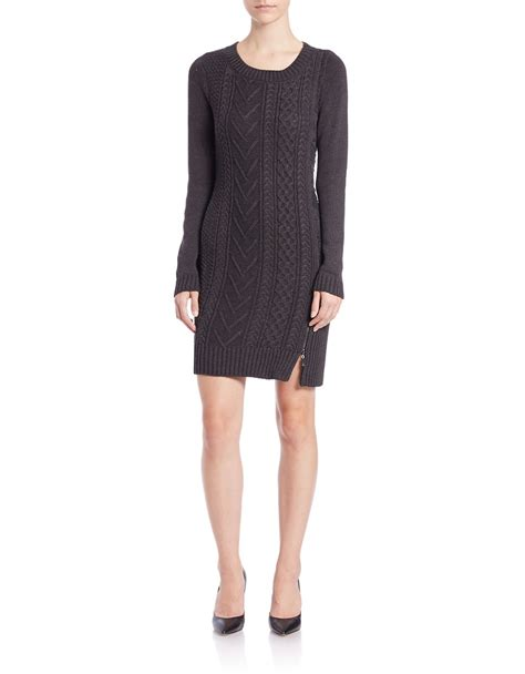 knit sweater dresses ivanka cable knit sweater dress in gray lyst