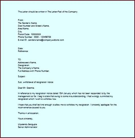 Cancellation Letter Resignation Cancellation Resignation Withdrawal Letter Exle Word Template Update234