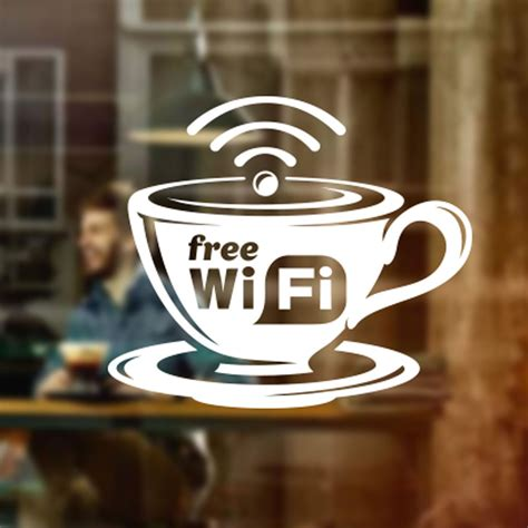 Sticker Coffee Shop free wifi cup window sign vinyl sticker graphics cafe shop salon bar restaurant ebay