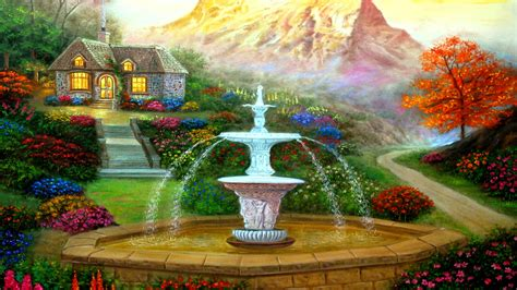 cottage  fountain hd wallpaper background image