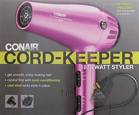 Conair 1875 Hair Dryer Manual conair 1875 watt cord keeper hair dryer with ionic conditioning pink new ebay