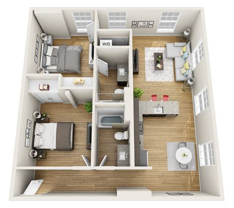 two bedroom apartments magnolia loft 3d floor plan freshome 2 bedroom 13673   81c9f7e383d065e4bd0c7e0b63021321