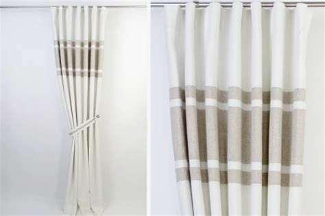 White And Beige Curtains Modern Linen Beige Curtains