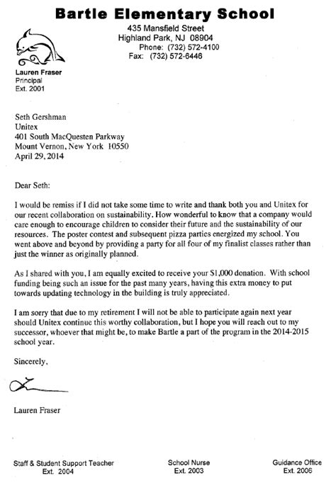 Thank You Letter For School Highland Park School Receives Donation From Business For Earth Day Unitex Textile Services