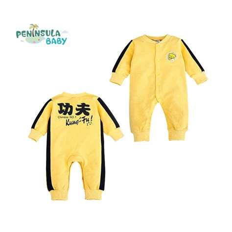 Bruce lee baby rompers yellow costume chinese kungfu jumpsuits newborn clothes long sleeve