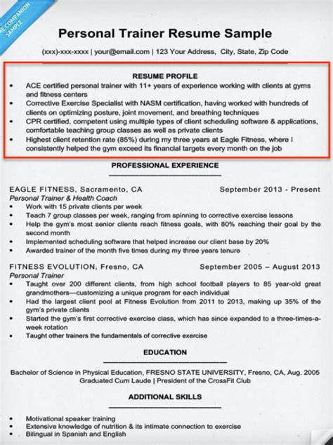 resume profile summary resume