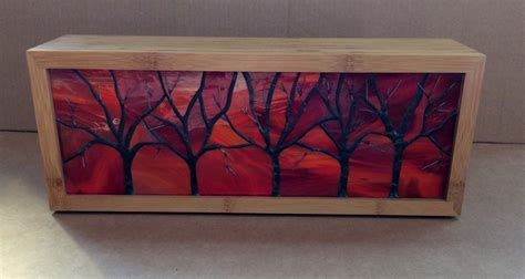 stained glass window light box lighted stained glass tree box made with bamboo