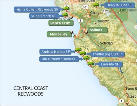 california map redwoods california coastal redwoods