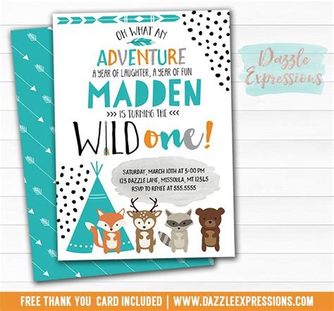 free printable birthday invitations woodland printable wild one tribal woodland birthday invitation