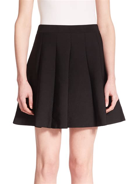 knitted skirts lyst zoey pleated knit skirt in black