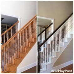 oak banister makeover thought i d share a before and after pic of our staircase
