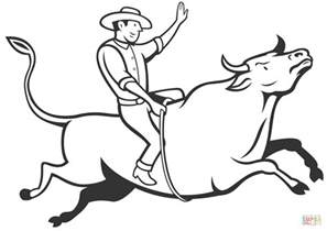 Rodeo Cowboy Bull Riding Coloring Page Free Printable Cowboys Coloring Pages To Print Printable
