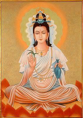 Liontin Kwan Im Pho Sat Guan Yin Phu Sa Bahan Titanium asepch dewi kwan im
