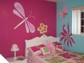 Paint Ideas For Girls Bedroom Beautiful Pink Butterfly Flowers Wall Murals Art For