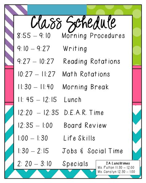 classroom schedule template the bender bunch sped summer hop kick scheduling