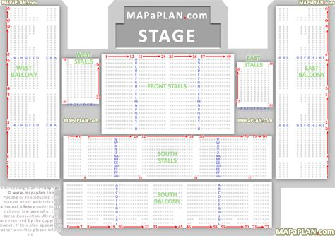 brighton centre detailed seat row numbers concert chart showing flat front stalls raised