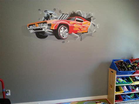 automotive wall murals mural of car crashing through a wall from barrett