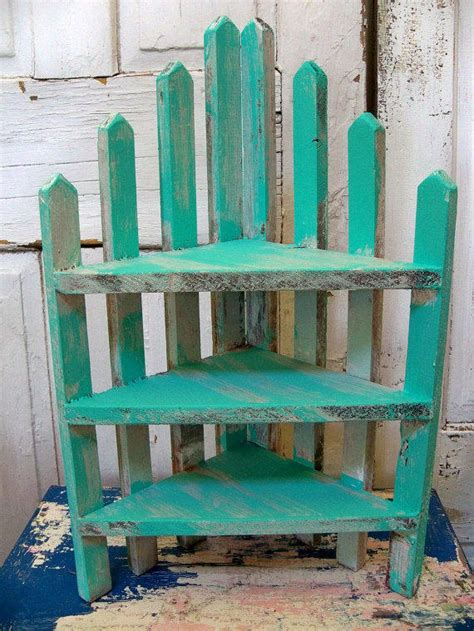 Picket Fence Shelf by Handmade Recycled Wood Aqua Picket Fence From