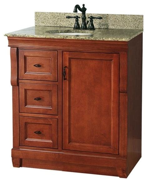 naples vanity with left drawers warm cinnamon with
