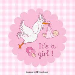 pink checked baby shower card vector free