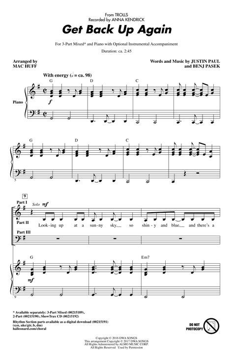 lyrics the get up get back up again from trolls sheet at stanton s