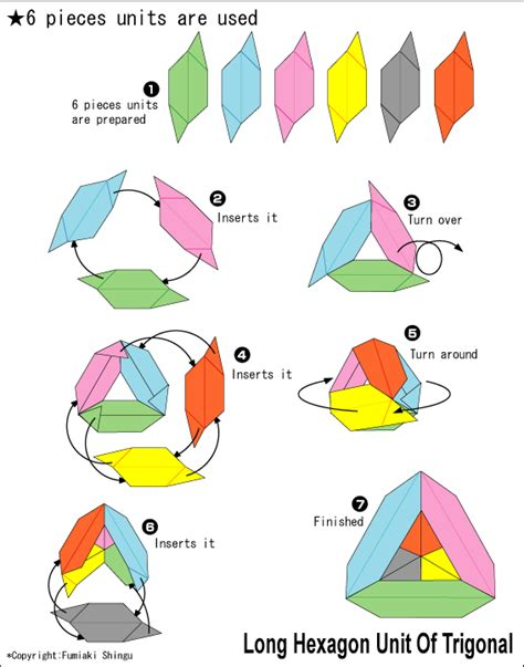 origami units origami hexagon unit of trigonal easy