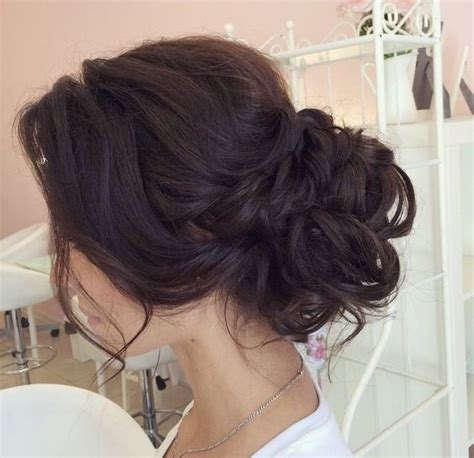 low chignon wedding hairstyle messy bun low bun chignon wedding updo wedding