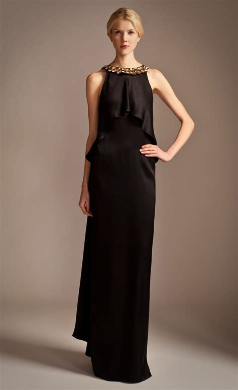 Longdress Diana Back lyst temperley goldina necklace dress in black