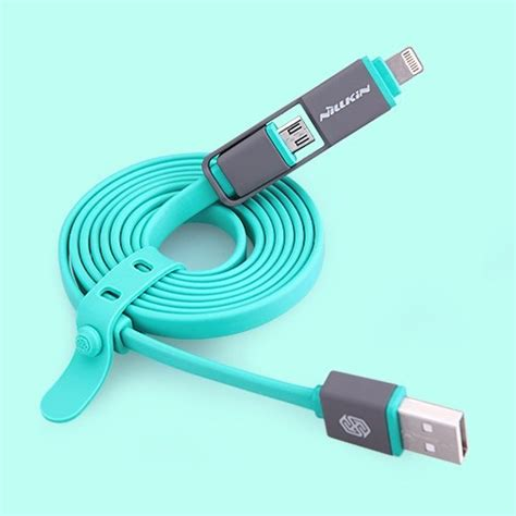 Nillkin Plus Cable 2 In 1 Charging Cable Lightning Micro Usb Graybl nillkin plus cable 2 in 1 charging cable lightning micro