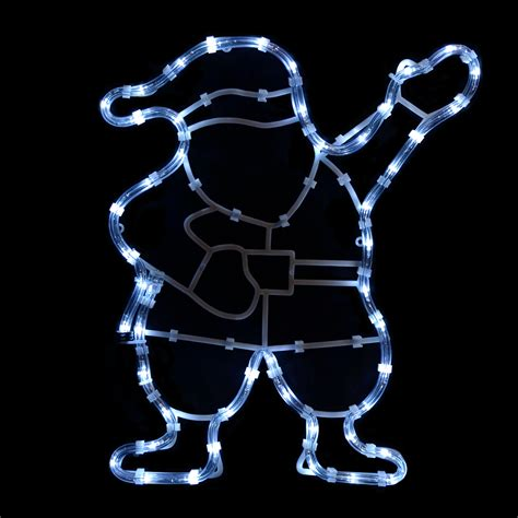 static white waving santa silhouette rope light led