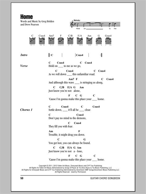 home sheet by phillip phillips lyrics chords
