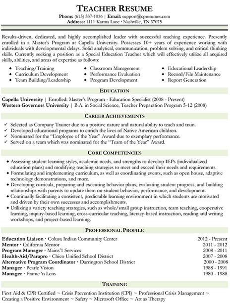 resumes format for teachers 15 professional resume recentresumes