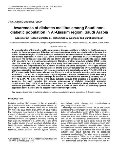 research paper about diabetes research paper about diabetes mellitus