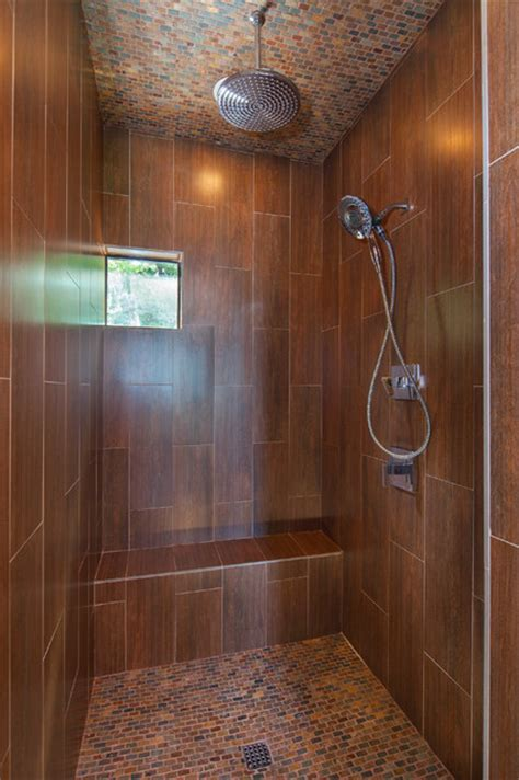 Custom Bathroom Showers Master Shower Wood Look Ceramic Tile Lake Travis