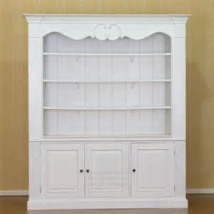3 doors display white cabinet with 3 shelves