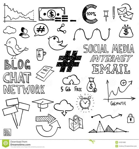 doodle draw website draw social media sign and symbol doodles stock