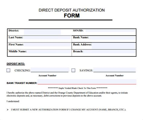 sample direct deposit authorization form 10 free documents in pdf