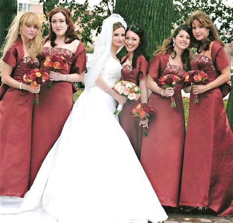 brides helping brides fall themed wedding bridesmaid dress color liweddings