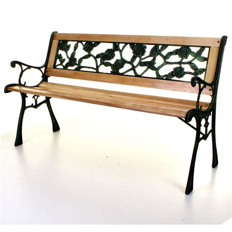 wrought iron bench wood slats outdoor 3 seater wooden garden bench rose park seat cast